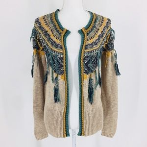 Gimmicks BKE Boho Brown Mustard Green Cardigan